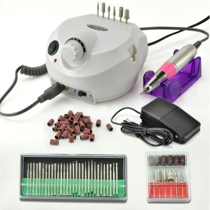 Blanc Kit Ponceuse à Ongles Polissoir Rond Appareil Electrique Nail Drill 30 000 RPM Professional Prise UE pour Ongle Pied Manuc.
