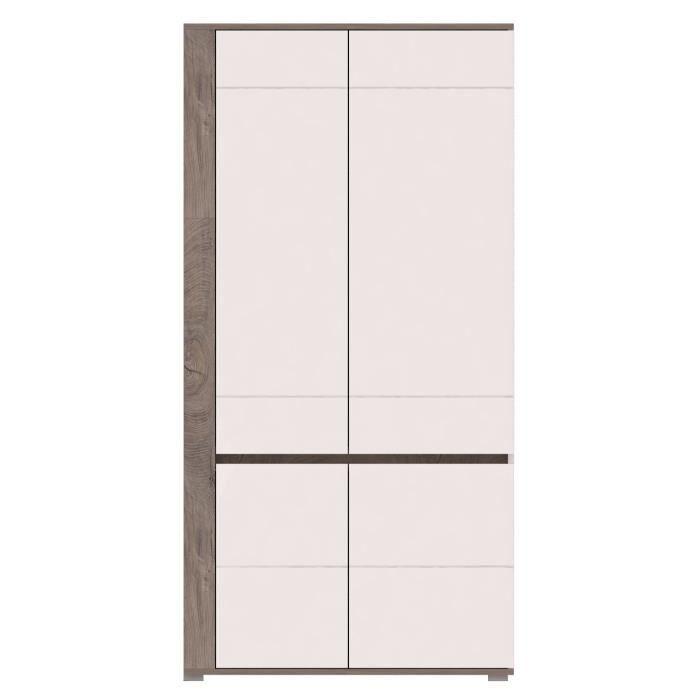 ARES - Meuble de rangement Vitrine + LED style moderne salon séjour - 196x100x55cm - Armoire porte vitrée - Aspect bois + Gloss -