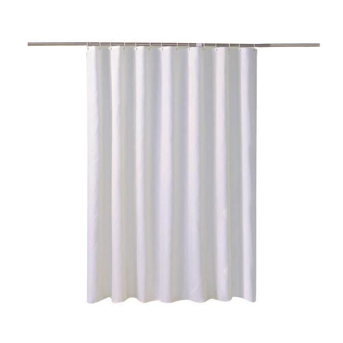 Rideau de Douche Blanc Antibactérien et Résistant à la Moisissure Imperméable Rideaux de Baignoire 200*200 cm