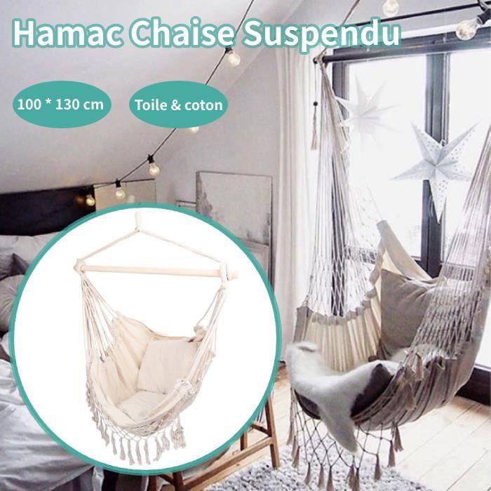 Fauteuil Hamac suspendu design 1 Place Extérieur intérieur avec Coussin confortable en Coton Beige -QNQ