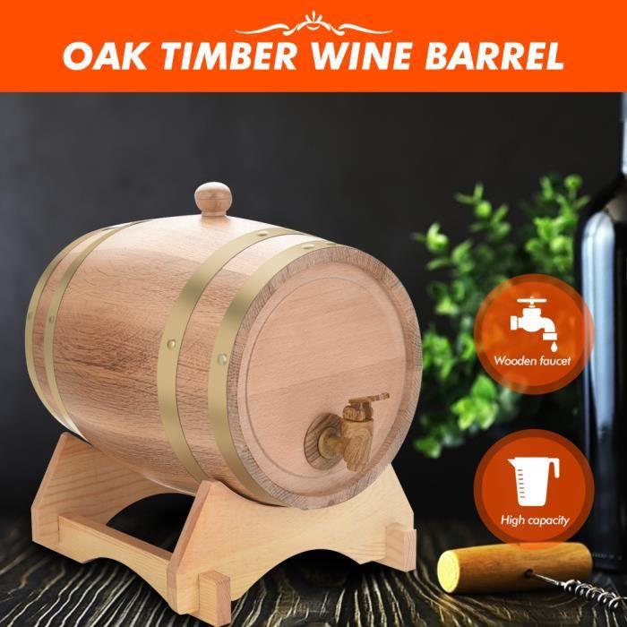 Tonneau à vin en bois de chêne vintage de 5 litres pour porto au rhum Beer Whiskey Facile à distribuer -CYA