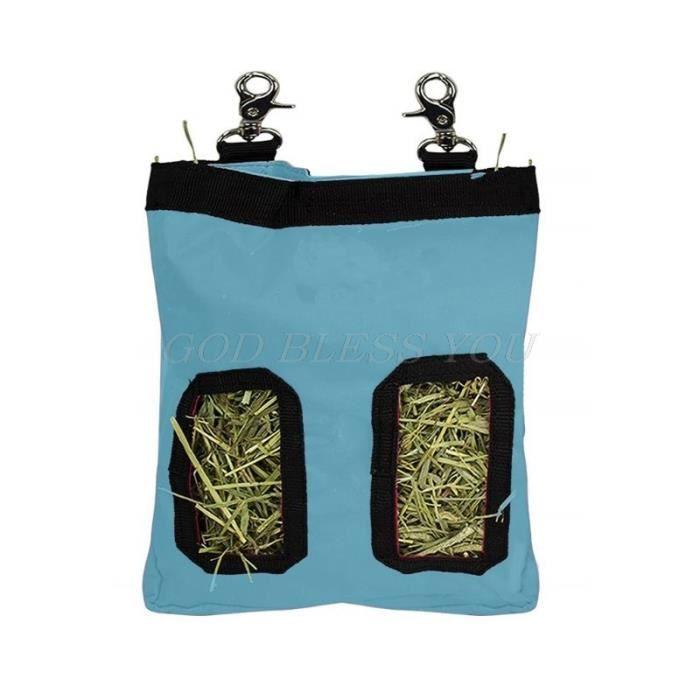 Blue S -Sac de foin pochette suspendue porte appât distributeur d'alimentation conteneur pour lapin cochon d'inde petits animaux ani