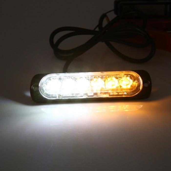 YOSOO Lampe stroboscopique d'avertissement 2pcs 12V 6 LED Feux Stroboscopique d'Avertissement d'Urgence de Camion Voiture