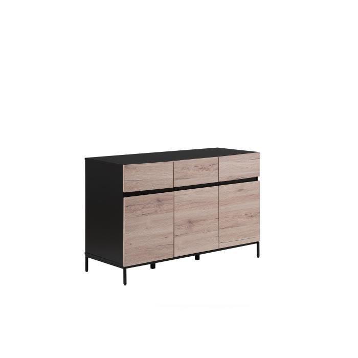 Buffet noir et couleur bois LEVIN