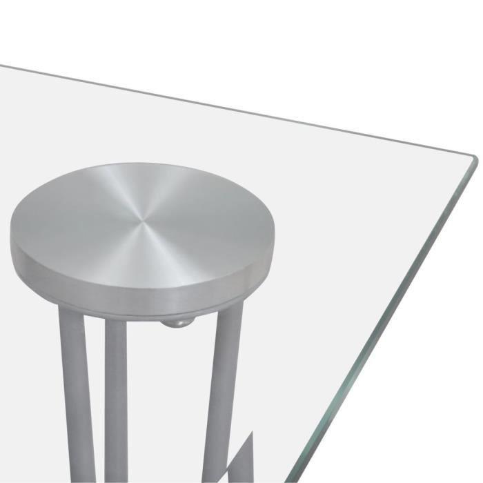 Table à manger transparente avec plateau en verre trempé de Salle à manger ou cuisine 120 x 70 x 75 cm