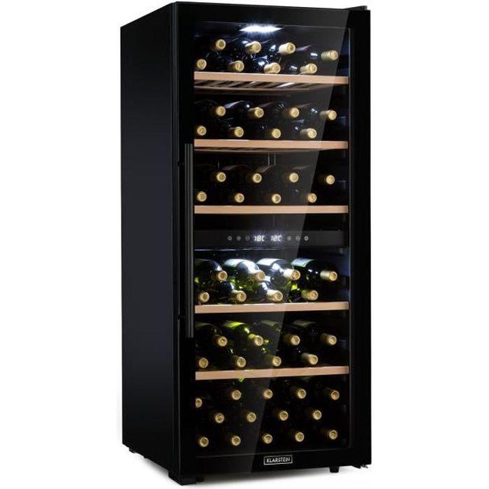 Klarstein Barossa 102D Cave à vin multi-températures 102 bouteilles - 2 zones : 5 à 18 °C - éclairage LED - 41dB - classe A - noir