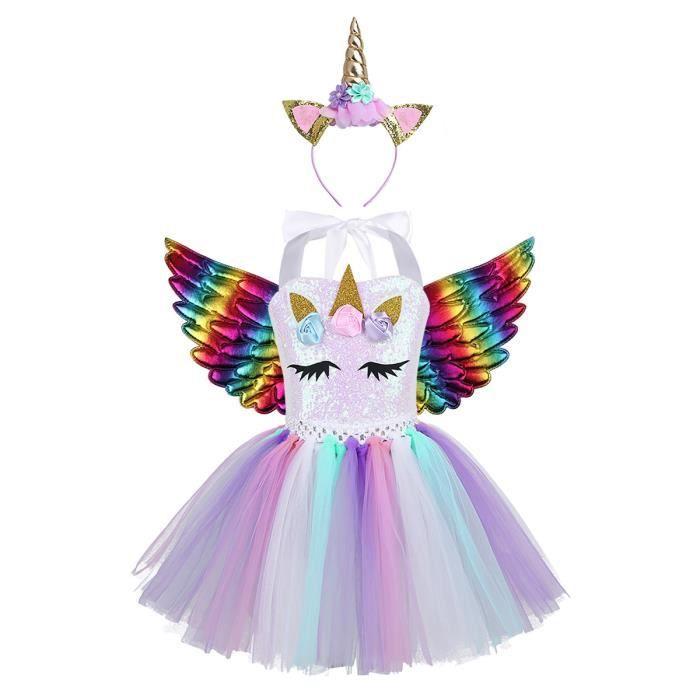 3Pcs Enfant Fille Tutu Danse Ballet Classique Licorne Paillettes Halloween Justaucorps Gymnastique Robe Sans Manches 2-12 Ans