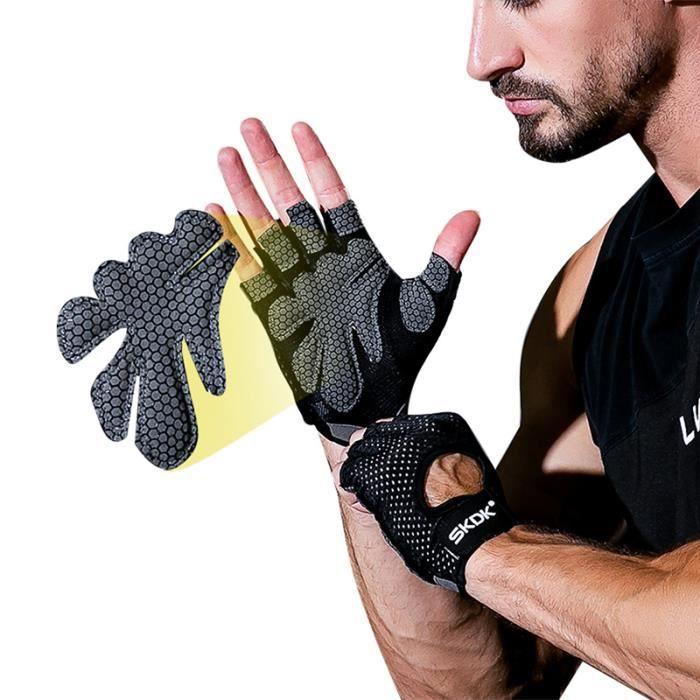 DAMILY® Gants de fitness sport musculation Gants demi-doigts Gants antidérapants-noir-XL