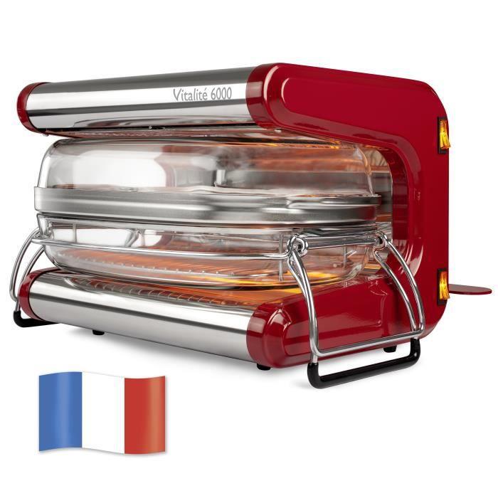 Omnicuiseur Vitalité 6000 avec ses 2 cocottes 6 et 10 personnes Rouge rubis - Appareil de cuisson basse température - cuiseur vapeur