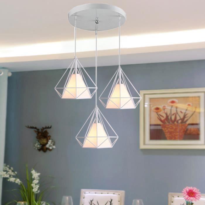 Suspension de 3 Luminaires en Métal E27 Plafonnier Lustre en forme de Diamant Cage Blanc