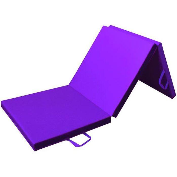 PRISP Tapis de Sol 180cm pour Fitness Exercices et Gymnastique 180 x 60 x 5cm Matelas de Gym Épais et Pliable pour la Maison - Mauve