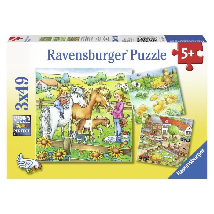 Puzzle 3x49 pcs Animaux De La Ferme