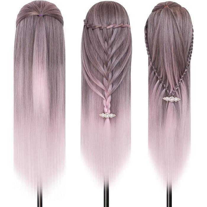 Neverland 28'' Têtes d'exercice,Tête à Coiffer Coiffure,100% Fibre Synthétique Cheveux, Mannequin Poupée pour le Salon B25