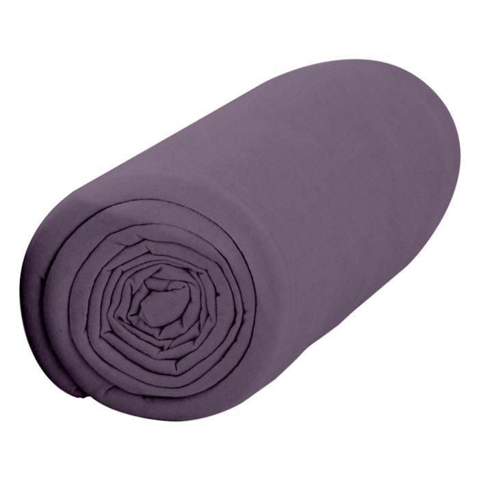 Drap Housse 90X190 1 personne Percale uni violet PREMIUM