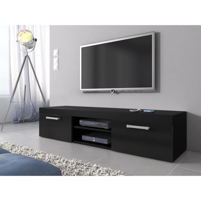 meuble tv mambo noir mat 160 cm achat vente meuble tv meuble tv mambo noir mat 16 cdiscount. Black Bedroom Furniture Sets. Home Design Ideas