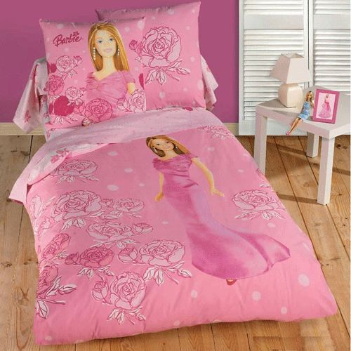 parure de lit barbie achat vente parure de drap. Black Bedroom Furniture Sets. Home Design Ideas
