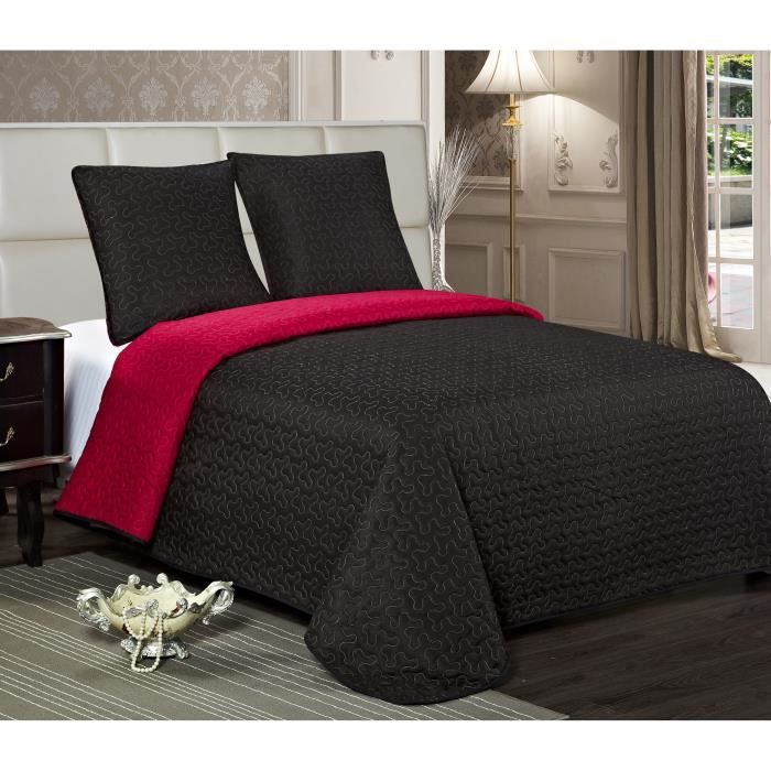 boutis stella bicolore 2 places noir rouge achat vente jet e de lit boutis cdiscount. Black Bedroom Furniture Sets. Home Design Ideas