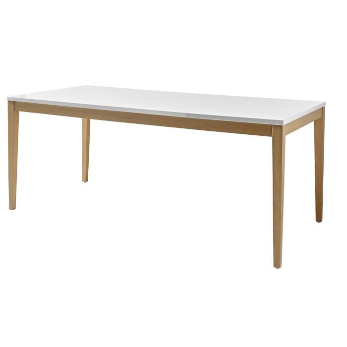 Table de salle manger rectangulaire blanc laqu ch ne for Table de salle a manger 3 metres