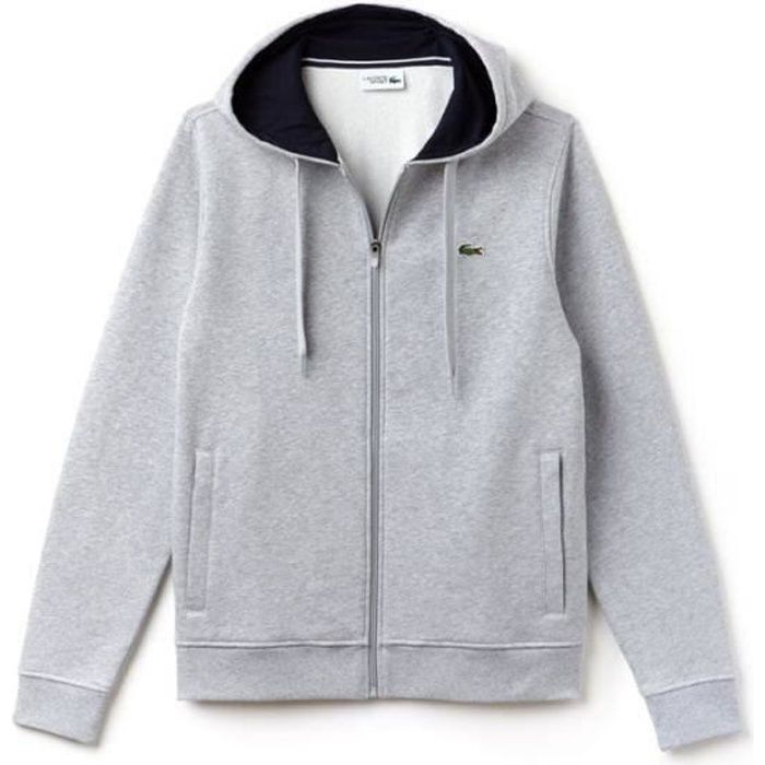 sweatshirt lacoste gris homme