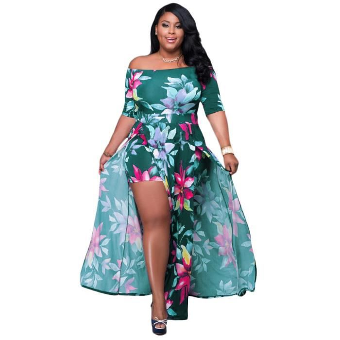 Femme Floral Empiècement Extensible Robe Maxi Femmes Pleine Longueur Robe D/'été Taille