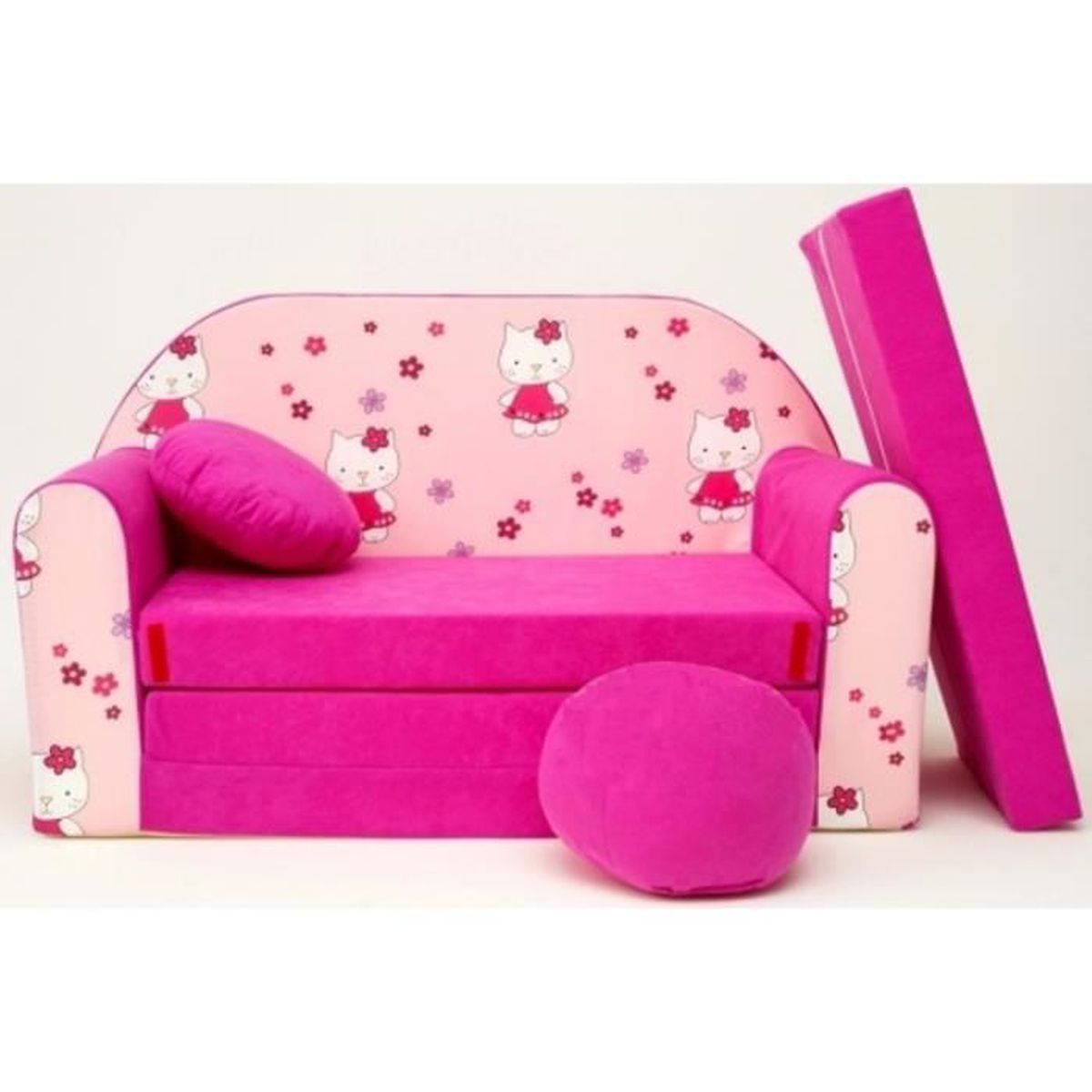 Canape sofa enfant 2 places convertible hello kitty rose - Canape enfant places ...