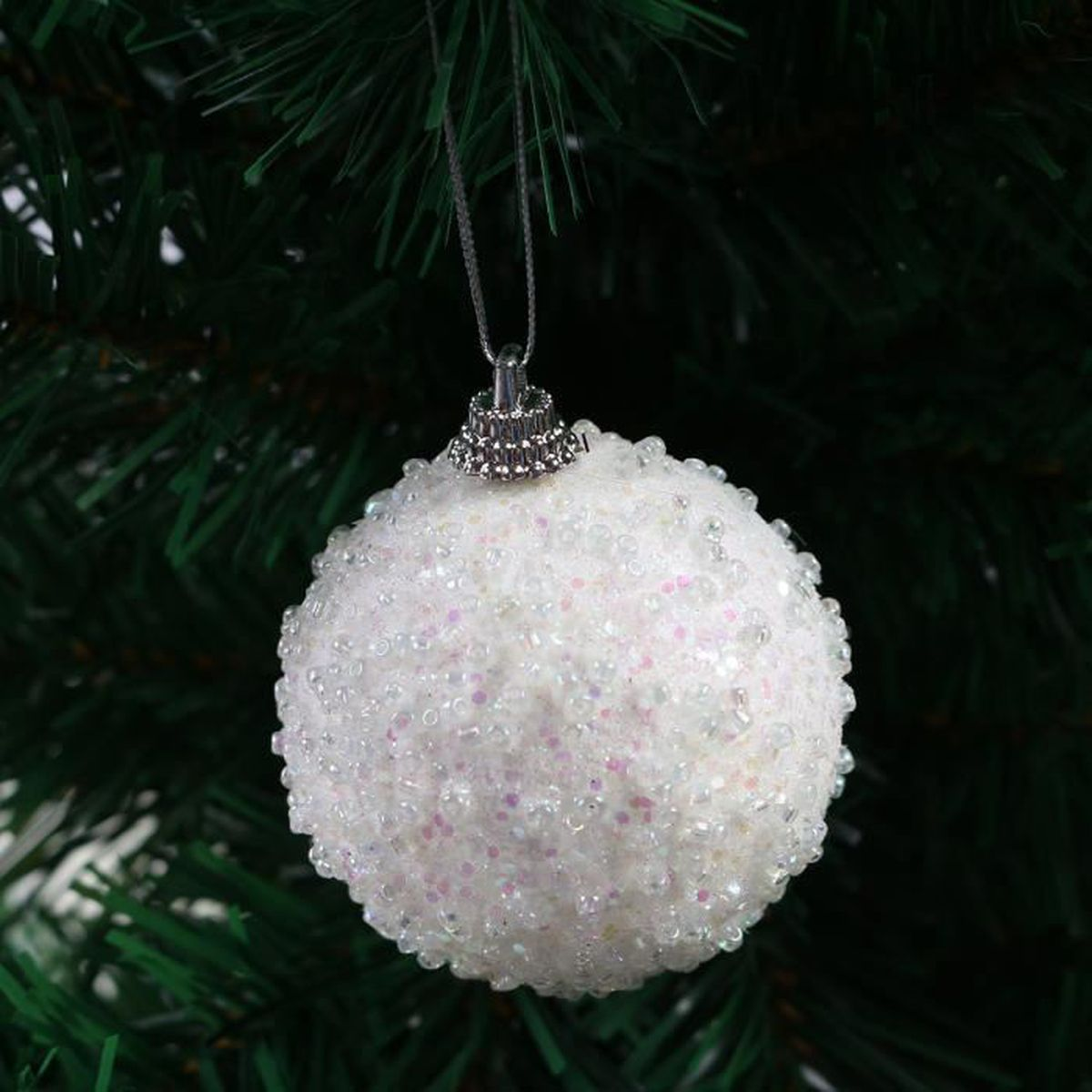 Boule noel couleur blanche ornement ext rieur en mini for Grosse boule de noel exterieur
