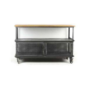 TABLE BASSE Meuble tv industriel 76x117x45 Bois Clair