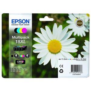 CARTOUCHE IMPRIMANTE EPSON 18XL Multipack - Pack de 4 - XL - Noir, Jaun