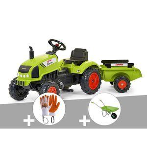 TRACTEUR - CHANTIER Tracteur enfant Claas arion + remorque + Gants + B