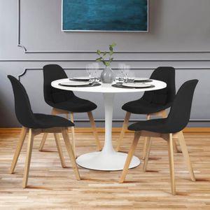 CHAISE Lot de 4 chaises GABY noires en tissu pour salle à