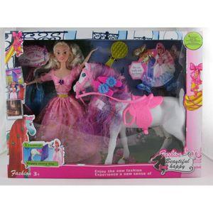 POUPÉE poupée avec cheval et accessoires à cheveux