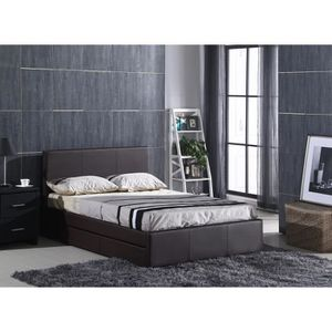lit avec rangement et sommier 140x190 achat vente lit. Black Bedroom Furniture Sets. Home Design Ideas