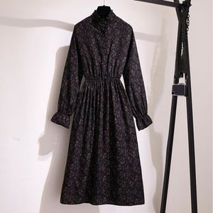 ROBE Femmes Lady Casual manches longues imprimé taille