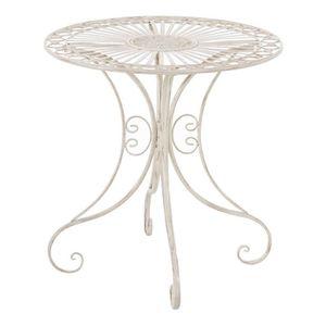 TABLE DE JARDIN  Table de jardin ronde en fer coloris crème antique