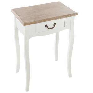CHEVET Commode chevet en bois avec tiroir, coloris blanc-
