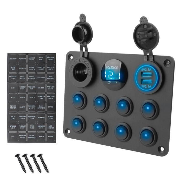Allume-cigare 12-24V 8 gangs prise double USB pour voiture RV camion ATV UTV camping-Car caravane interrupteur à bascule, [F066B24]