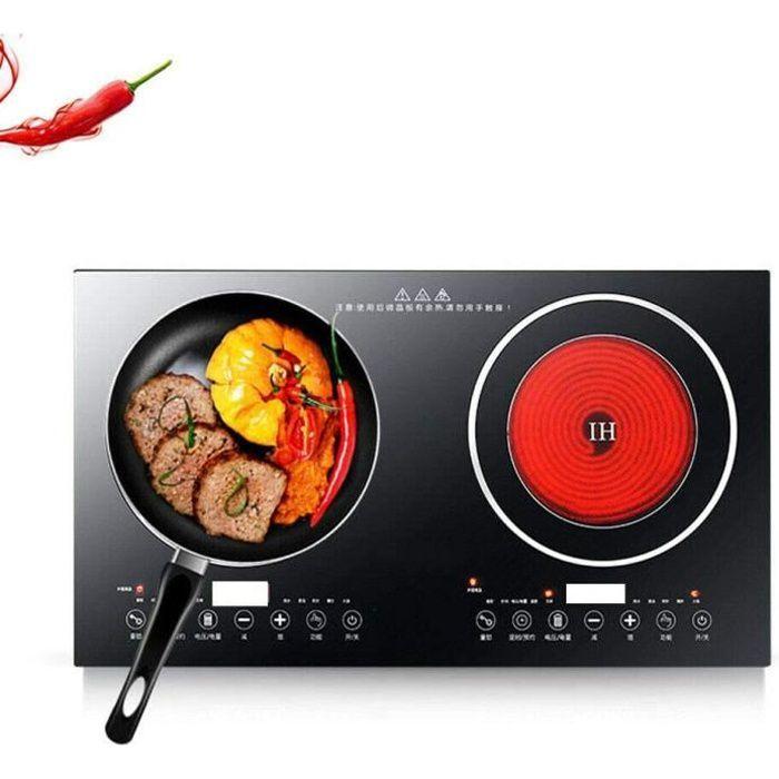 Double plaque de cuisson électrique à induction - 4 400 W - 2 brûleurs - Zones de cuisson - 8 vitesses - Puissance de feu 220 V