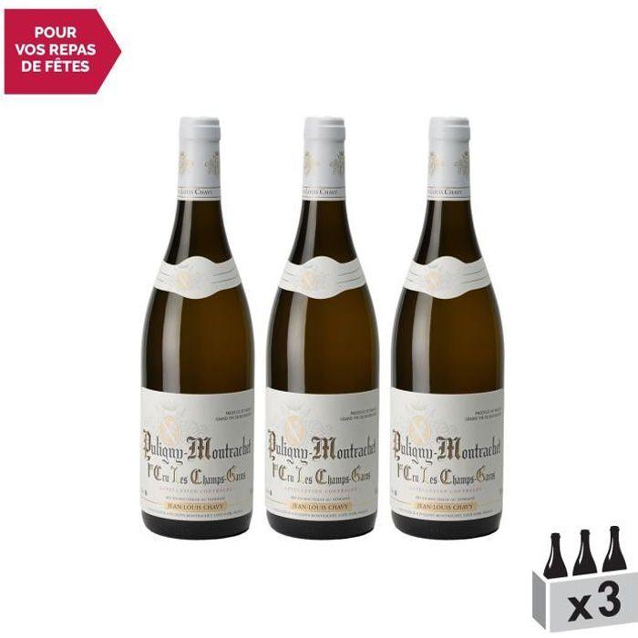 Puligny-Montrachet 1er Cru Champ Gain Blanc 2018 - Lot de 3x75cl - Domaine Jean-Louis Chavy - Vin AOC Blanc de Bourgogne - Cépage