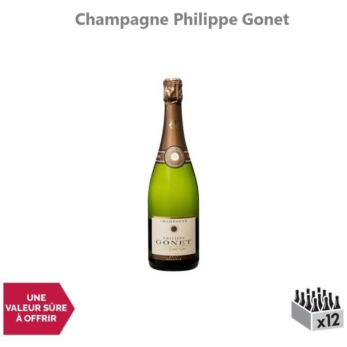 Champagne Réserve Brut Blanc - Lot de 12x75cl - Champagne Philippe Gonet - Cépages Pinot Noir, Chardonnay, Pinot Meunier