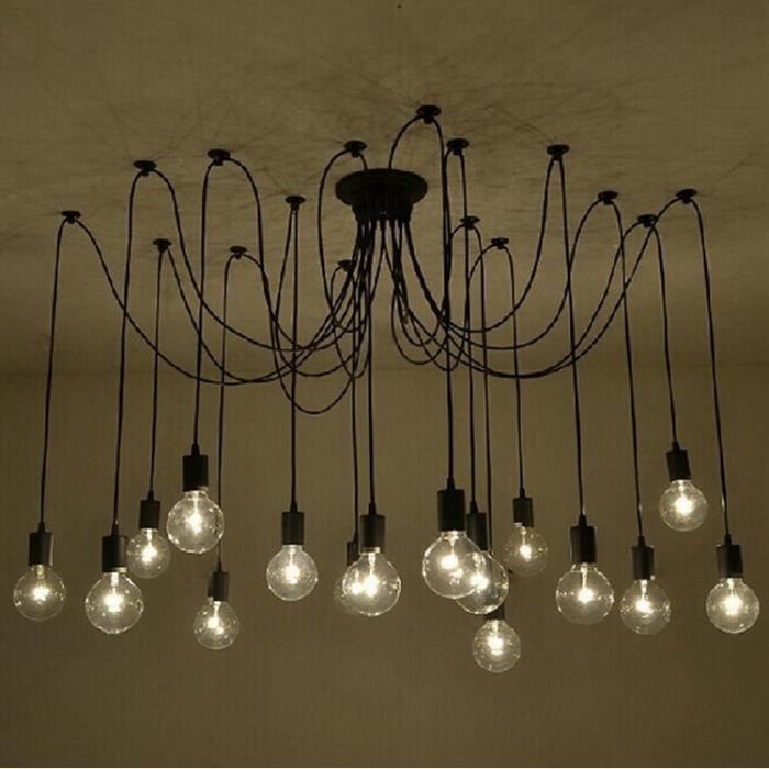 Suspensions Lustres Araignee Rétro Plafond 14 tête Loft Bricolage Lampe éclairage Plafonniers Luminaire Noir