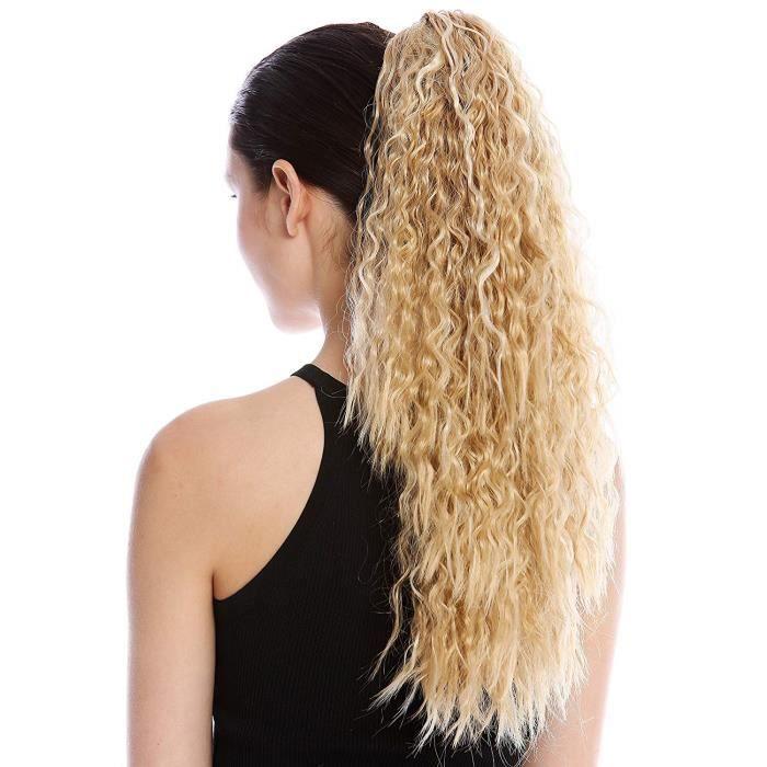 WIG ME UP ® - N461-V-24BH613 Postiche couette queue de cheval longue volumineuse bouclée boucles anglaises crêpé afro blond plati