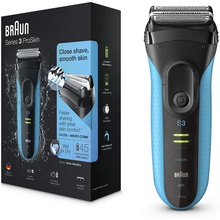 Braun Series 3 ProSkin 3040s Rasoir Électrique Homme Barbe, Noir/Bleu - Rasoir Électrique Rechargeable