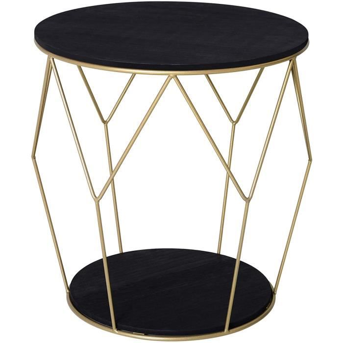 TABLE D'APPOINT - TABLE DE COMPLEMENT - GUERIDON HOMCOM Table Basse Ronde Design Style Art d&eacuteco &Oslash 45 x 48H cm MDF 200