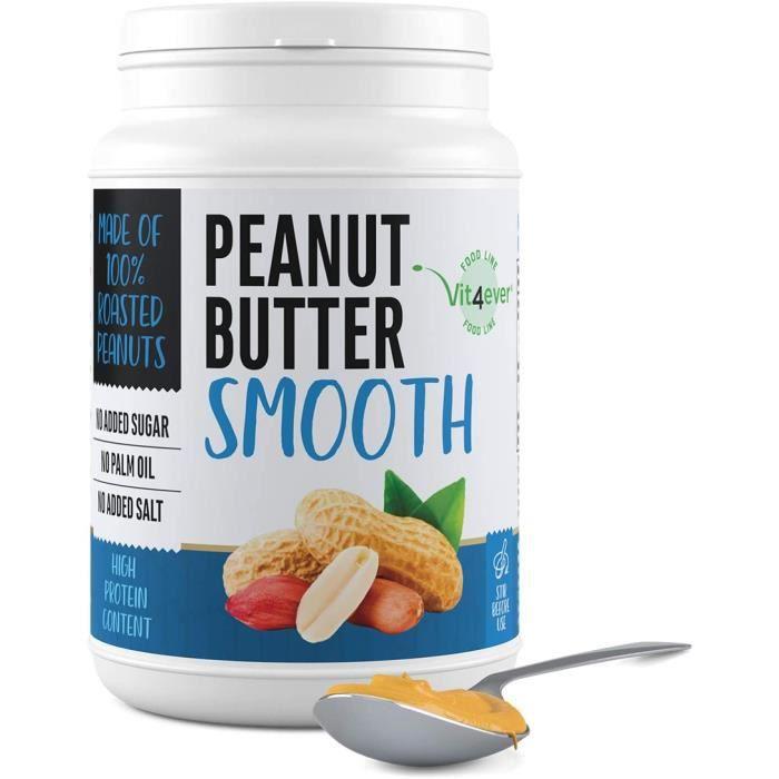 Beurre d'arachide lisse - 1kg de beurre d'arachide naturel sans additifs - 30% de teneur en protéines - beurre d'arachide sans sel,