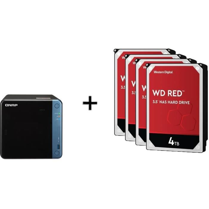 QNAP - Serveur Stockage (NAS) - TS-453BE-4G - 4 Baies + WD Red™ - 4 Disque dur Interne NAS - 4To - 5 400 tr/min - 3.5- (WD40EFAX)