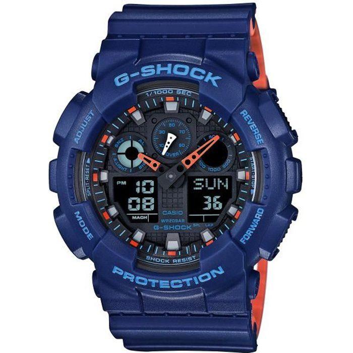 CASIO G-Shock Montre GA-100L-2AER résistance aux chocs et aux champs magnétiques, chrono, affichage de vitesse