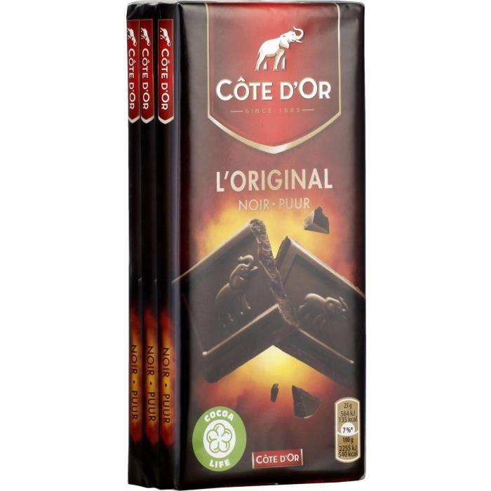 COTE D'OR Lot de 3 Tablettes de chocolat Familiale Noir Extra - 100 g