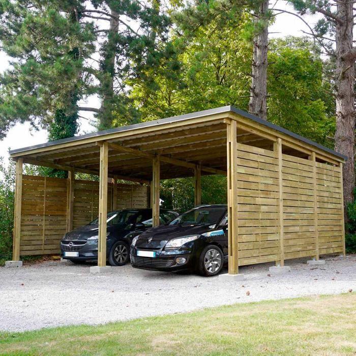 Carport Bois PREMIUM, 2 voitures, avec panneaux latéraux - 685 x 586 x H.280 cm