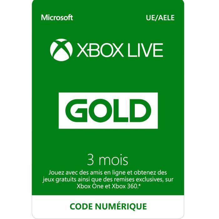 Abonnement Xbox Live Gold 3 Mois - Code de Téléchargement pour Xbox One