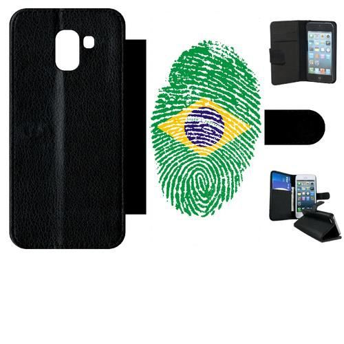 Etui a rabat - Plastique - Noir Samsung Galaxy J6 60 EMPREINTE DIGITALE DRAPEAU BRESIL BRAZIL